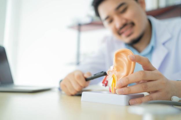 O médico otorrinolaringologista aponta na anatomia do ouvido humano sobre o sintoma do tímpano