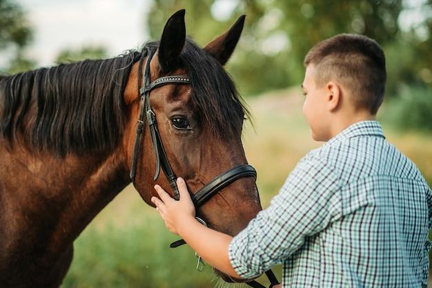 O menino acaricia o cavalo favorito do cavalo na cabeça