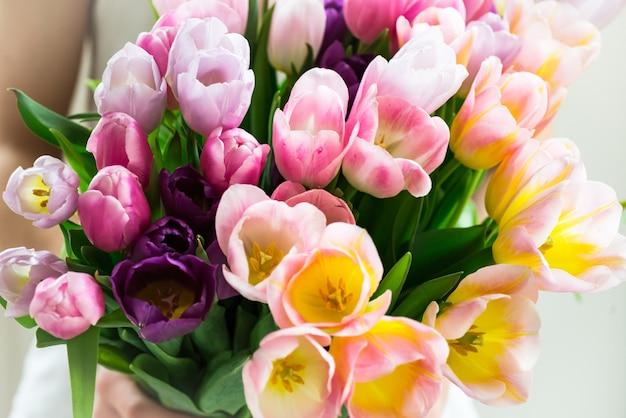 O menino apresenta um monte de tulipas coloridas para sua mãe