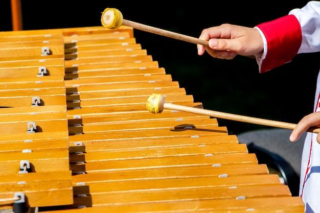 O menino toca xilofone durante o concerto