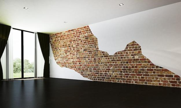 O mock up decoração de design de interiores de loft moderno e sala de estar vazia e fundo de parede de tijolos
