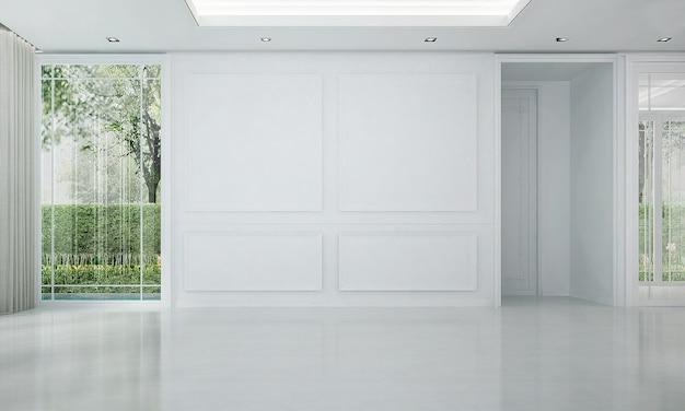 O mock up decoração de design de interiores de luxo moderno e sala de estar vazia e fundo de parede padrão branco