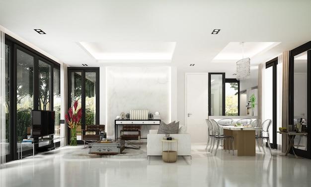 O mock up decoração de design de interiores de sala de estar aconchegante e moderna e fundo de parede branca e vista para o jardim