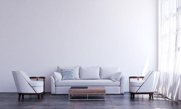O mock up decoração de design de interiores de sala de estar aconchegante e moderna e fundo de parede branco