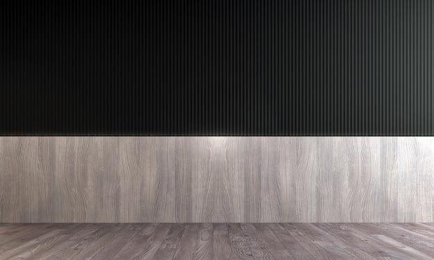 O mock up decoração de design de interiores de sala de estar moderna e vazia e fundo de parede padrão preto