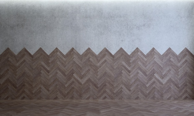 O mock up decoração de design de interiores de sala de estar vazia e aconchegante moderna e madeira e fundo de parede de concreto