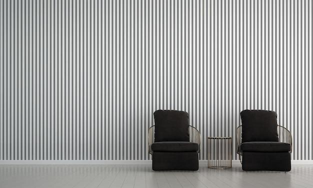 O mock up design de móveis em fundo de parede branca de interior moderno