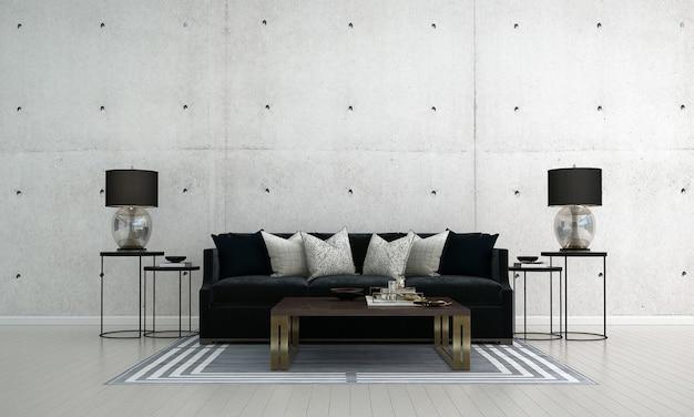 O mock up design de móveis em loft moderno e fundo interior de parede de concreto