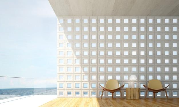 O mock up design de móveis em um fundo interior moderno