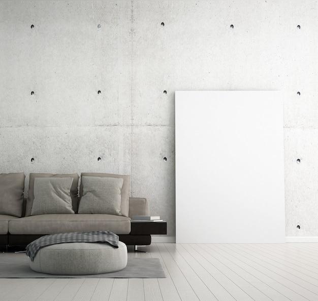 O mock up design de móveis em um interior moderno e fundo de parede de concreto