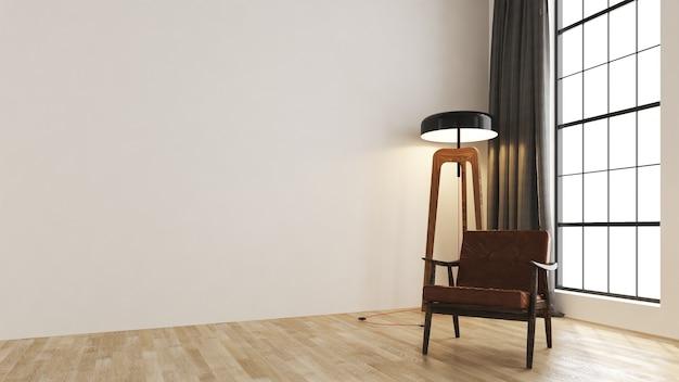 O mock up design de móveis em um loft moderno com fundo interior e aconchegante sala de estar