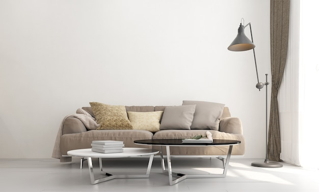 O mock up design de móveis em um moderno fundo retro, aconchegante sala de estar