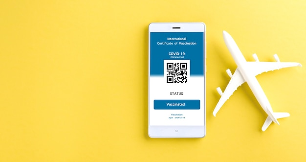 O modelo de avião e o passe de imunidade são organizados no smartphone