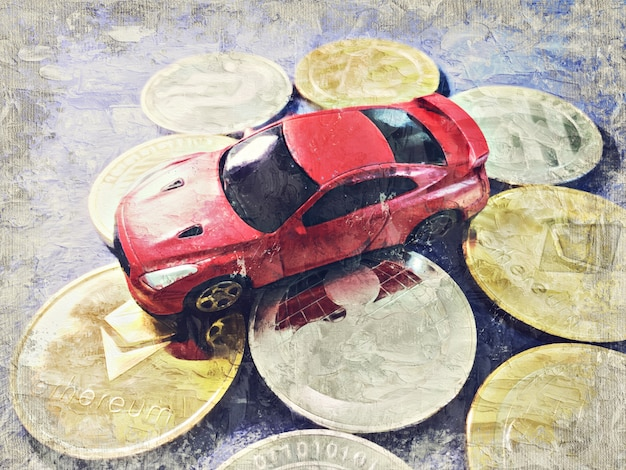 O modelo do carro coloca na moeda cripto no pano azul. sumário da pintura a óleo de impasto da arte de digitas.
