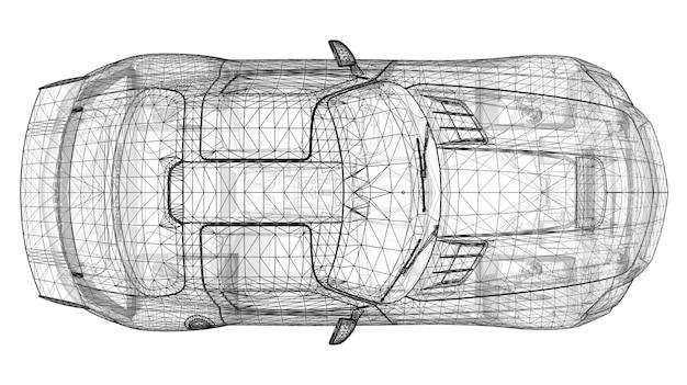 O modelo ostenta uma forma cupê premium de uma grade triangular poligonal preta em um fundo branco