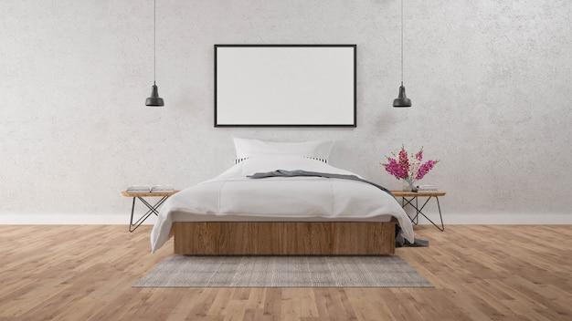 O modern of loft bedroom.3d renderizar imagem