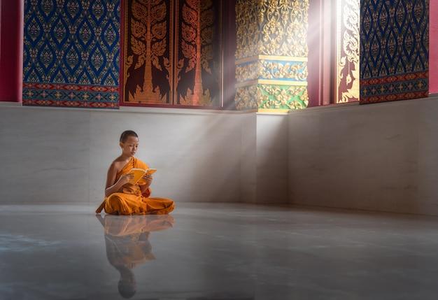 O monge asiático novato leu um livro, monk sudeste asiático, jovem monge budista em um dos templos da tailândia.