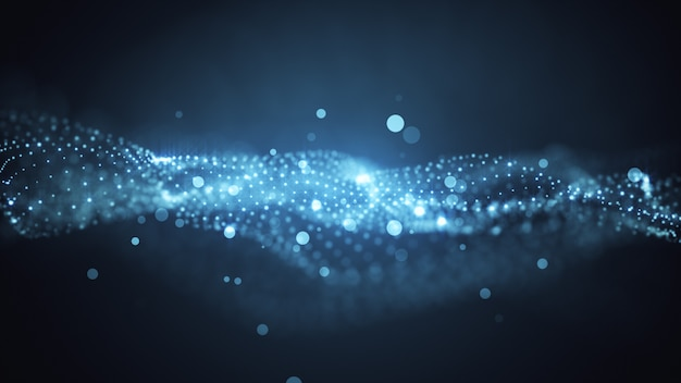 O movimento perfeito do fundo dourado. poeira do universo com estrelas em um fundo preto. movimento de partículas abstratas. ilustração 3d