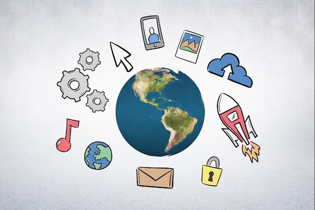 O mundo com ícones desenhados à mão