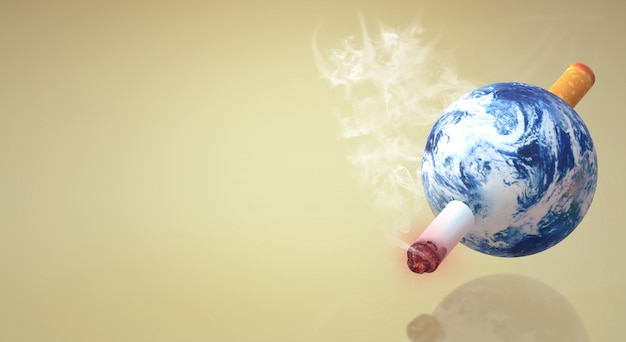 O mundo da rendição 3d nenhum fundo da imagem do dia do cigarro.