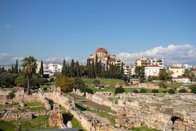 O museu arqueológico de kerameikos está localizado em kerameikos, atenas, grécia
