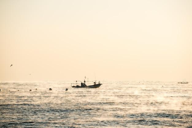O navio com carga completa de peixes e gaivotas no mar
