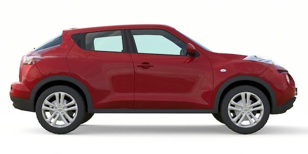 O nissan juke vermelho é um suv crossover subcompacto. renderização 3d.