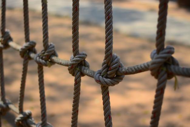O nó da corda para a aventura clibling na atividade do scout