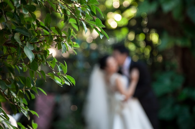 O noivo está beijando a noiva.