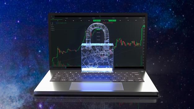 O notebook e a fechadura para o conceito de segurança renderização em 3d