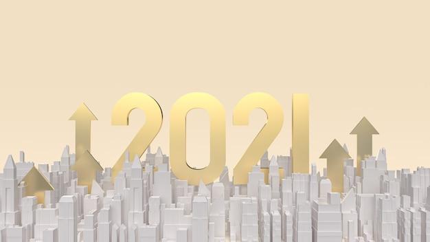 O número dourado 2021 e a seta de construção para cima para renderização em 3d de conteúdo de negócios.