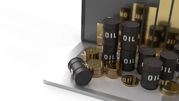 O óleo agradece e gráfico na renderização 3d do laptop para o conteúdo de petróleo.