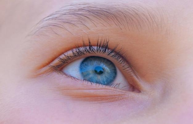 O olho azul de uma garota que olha para cima com interesse_