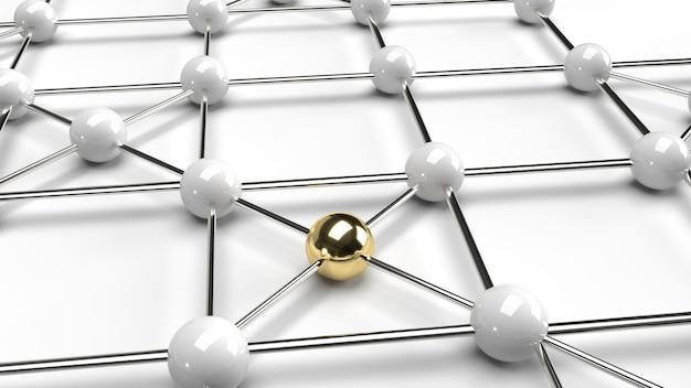 O ouro abstrato do projeto da conexão do projeto e a rendição branca da estrutura de rede 3d da esfera.