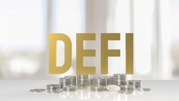 O ouro desfibrila moedas de palavra e prata para negócios ou criptomoeda conceito de renderização 3d.