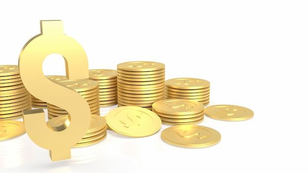 O ouro e ouro símbolo do dólar e moedas no fundo branco renderização 3d