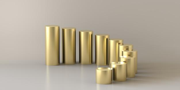 O ouro vazio pisa cilindro no fundo branco. renderização em 3d.