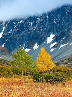 O outono nas montanhas. bela vista de outono da península de kamchatka