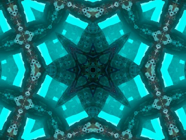 O padrão caleidoscópico abstrato da ilustração na cor jade originou-se da fotografia das folhas verdes do bambu projetadas para azulejos, papel de parede, tecidos ou lenços.