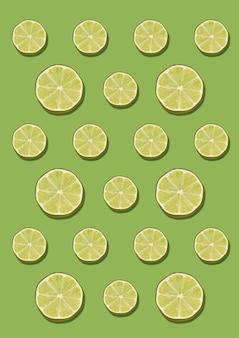 O padrão de limão no fundo verde. conceito de leigo plano mínimo.
