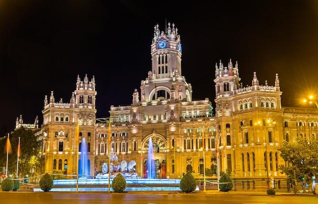 O palácio de cibele, anteriormente o palácio da comunicação em madri, espanha