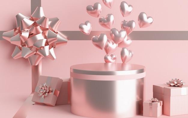 O palete conceito dia dos namorados tem uma caixa de presente. balão de coração rosa pastel e pastel. renderização 3d.