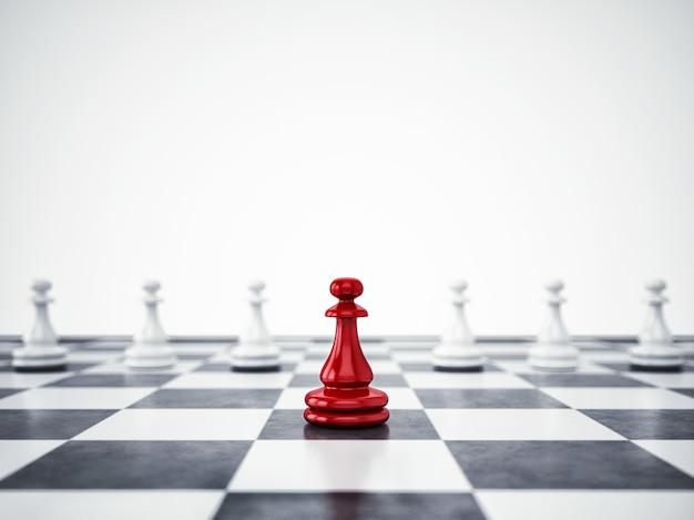 O peão vermelho difere da massa. conceito de exclusividade e liderança. renderização 3d