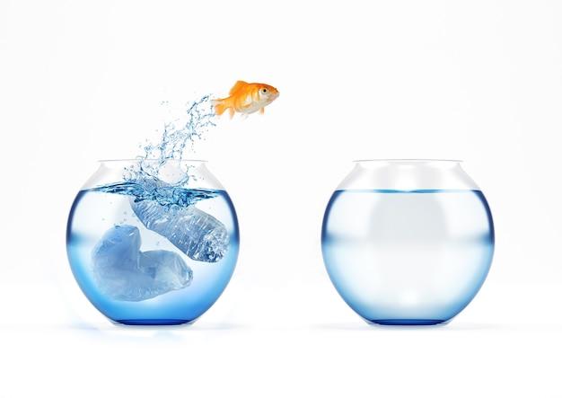 O peixe vermelho migra do conceito de galheteiro poluído para o galheteiro limpo de poluição de plástico do mar e do oceano