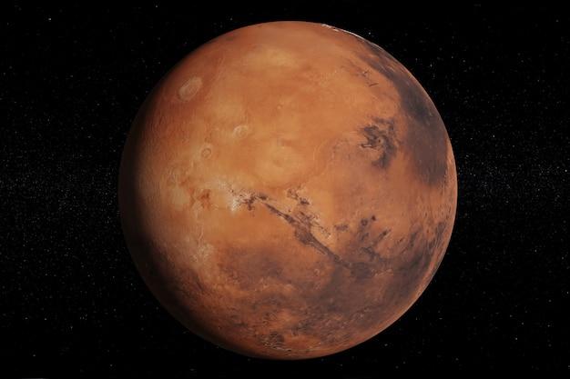 O planeta marte em um fundo estrelado.