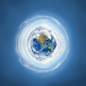 O planeta terra com nuvem