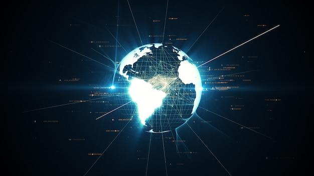 O planeta virtual terra gira no espaço, o conceito de negócios de tecnologia e conexões na ilustração 3d do mundo