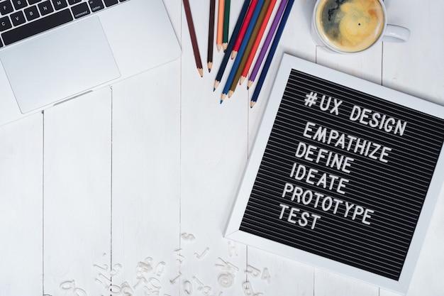 O plano criativo coloca a foto da mesa de trabalho do desenhista de ux e do texto do processo de projeto do ux na placa preta de feltro.