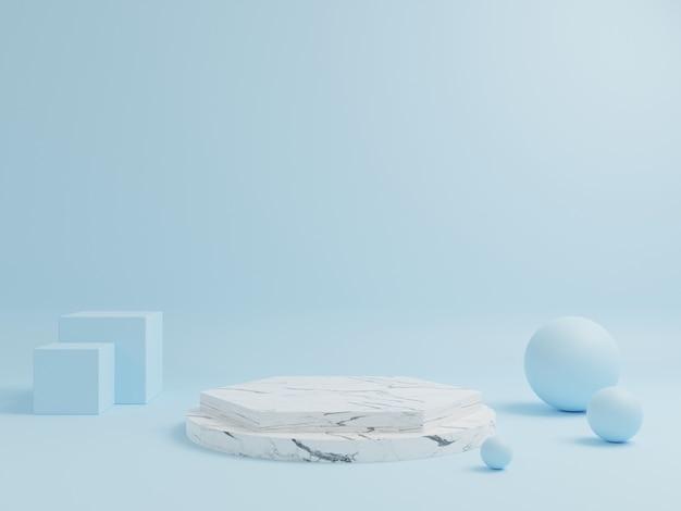 O pódio em mármore para a colocação de produtos tem uma forma geométrica com fundo azul.