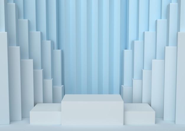 O pódio nas escalas azuis da paleta da serenidade do vencedor abstrato macio, 3d rende.